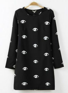 Black Long Sleeve Eyes Print Straight Dress pictures
