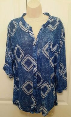 Coral Bay Plus Size 2x Womens Blue Knit Top  White tie dye design pocket sleeves #CoralBay #KnitTop #Casual