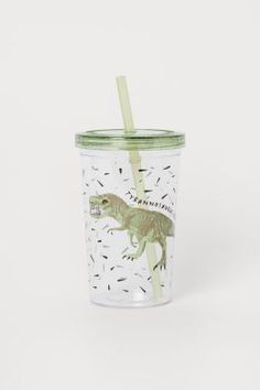 Patterned Duvet Cover Set - Natural white/dinosaurs - Home All   H&M US Washed Linen Duvet Cover, Tumblr Cup, Christmas Offers, Plastic Mugs, Gift Card Shop, Tyrannosaurus Rex, Music Gifts, H&m Gifts, Khaki Green