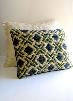 70s Bargello needlepoint decorative pillow - mod navy green cream wool yarns - 1970s Jonathan Adler chic - butter yellow. $30.00, via Etsy.