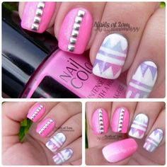 Pink and pastel tribal nails