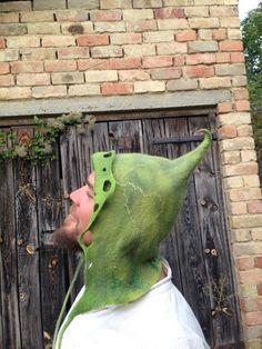 Handmade felt elf hood for men. Unisex pixie hat. by ARTofCecilia