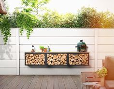 Kaminholzregal Feuerholzregal Brennholzregal   Etsy Outdoor Walls, Outdoor Sofa, Outdoor Furniture, Outdoor Decor, Firewood Storage, Black Cabinets, Pergola, Backyard, Indoor