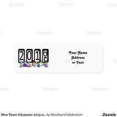 New Years #Odometer 2015-2016 Party Hats Return Address Label by #NewYearsCelebration #Zazzle #Gravityx9 -