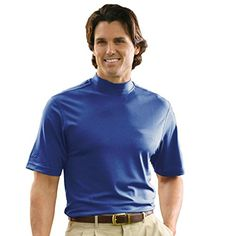 Monterey Club Mens Dry Swing Lightweight Solid Mock Jersey Shirt 3302 Nantucket Blue Small * You can find out more details at the link of the image.