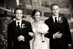 #bride walks down aisle with teenage sons