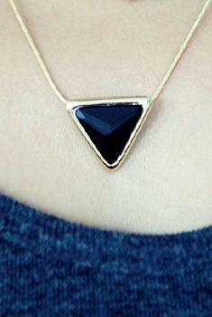 Triangle Gem Pendant Necklace from en.aura-j.kr // $8.40