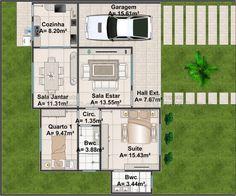 Casa C019: Projeto de casa com 2 quartos, sendo 1 suíte, 2 banheiros e 1 vaga na garagem. Fachada no estilo americano, com traços contemporâneos.