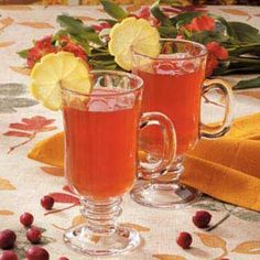Autumn Tea Recipe 5 individual tea bags 5 cups boiling water 5 cups unsweetened apple juice 2 cups cranberry juice 1/2 cup sugar 1/3 cup lemon juice 1/4 teaspoon pumpkin pie spice