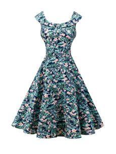 Robe Patineuse Floral Imprimé Mélange Longueur Aux Genoux