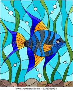 Illustration in stained glass style blue fish scalar on the background of water and algae - comprar este(a) imagem vetorial de banco no Shutterstock e encontrar outras imagens.