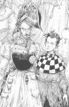 illustration work by chris riddell from the edge chronicles Quint and his father||| my favourite illustrator!