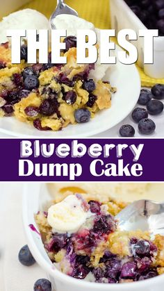 The Best Blueberry Dump Cake recipe: Blueberries, cake mix + a few more ingredients come together to make this amazing buttery, decadent blueberry dessert. Desserts The Best Blueberry Dump Cake Recipe Easy Blueberry Cobbler, Blueberry Dump Cakes, Blueberry Oatmeal, Blueberry Breakfast Cakes, Blueberry Dumplings, Blueberry Buckle Recipe, Blueberry Upside Down Cake, Blueberry Crunch, Quick Dessert Recipes