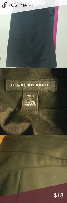 Banana Republic Stretch Pencil Skirt Black pencil skirt from Banana Republic. Waistband has a criss cross design as seen in photo 3. Fully lined. Shell is cotton modal spandex blend. Lining is polyester spandex blend. Size 8. Waist 15.5 inches flat. Length 18.5 inches. EUC. Banana Republic Skirts Pencil