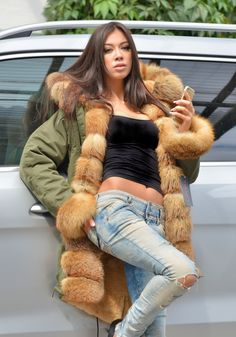 american parka with fur - top trendy american army parka with fox fur - coat
