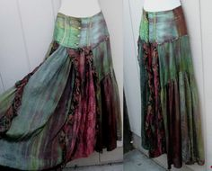 upcycled, Tattered GYPSY Skirt boho, lacy, romantic, layered, vintage, peasant, via Etsy