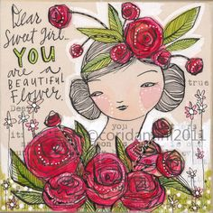 dear sweet girl - art about beauty 8 x 8 inches - archival - limited edition - by cori dantini. $20.00, via Etsy.