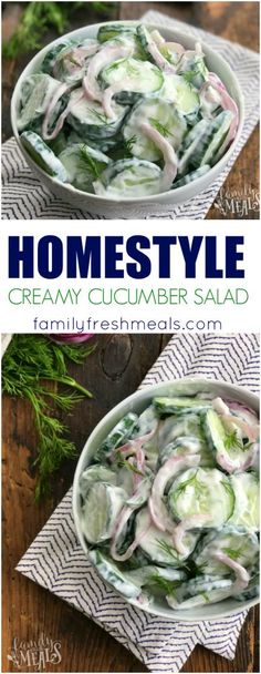 Homestyle Creamy Cucumber Salad Recipe - Yummy- Family Fresh Meals
