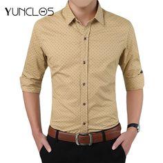 Long Sleeve Men s Shirt Polka Dot Cotton Luxury Brand Mens Shirt Casual  Slim Fit Male Social Shirt Plus Size 566b5d59107