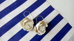 Golden porcelain earrings 24 k gold hand made hooks