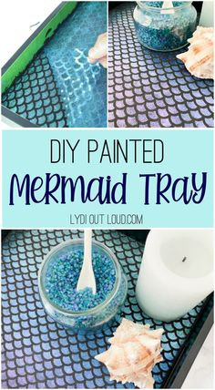 Mermaid decorations are perfect for a beach themed room or for a little girl's birthday party! Check out how I made this plain tray into a mermaid tray! @lydioutloud Indian Home Decor, Fall Home Decor, Cheap Home Decor, Diy Home Decor, Mermaid Crafts, Mermaid Diy, Do It Yourself Organization, Homemade Crafts, Diy Crafts