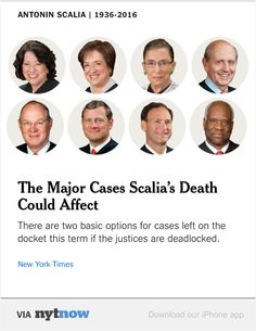NYT Now: How Scalia's Death Could Affect Major Supreme Court Cases in the 2015-16 Term  http://nyti.ms/1KR4wLL