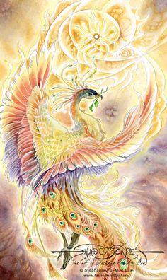 Art Print - Phoenix by Stephanie Pui-Mun Law-Stephanie, Pui-Mun Law, bird, fire, sun, jewel, pearl, peacock, feather, feathers,Art print, fine art print, print, archival, giclee, giclée