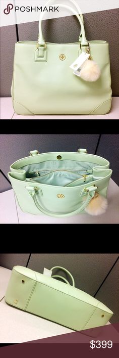 """Tory Burch Robinson East to West Mint Green Tote 💟Beautiful Mint Julep Color Robinson; ⚖️15.75""""L x 12""""H x 5""""D, strap drop 8""""; 🏷Brand new with tag; 🛍In perfect condition, no damages; ✔️All items 100% Authentic; 💰REASONABLE offers will only be considered through the offer button; 💵Please, NO lowball offers, it's very disrespectful; 🎁Purchases over $200 will come with a gift; 🌷Smoke free pet free home; 💸BUNDLE and save!!   💋Happy Poshing💋 Tory Burch Bags"""