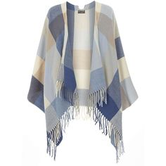 Dorothy Perkins Blue and Tan Check Cape ($35) ❤ liked on Polyvore featuring outerwear, cardigans, cape, jackets, tops, blue, tan cape coat, blue cape, tan cape and dorothy perkins