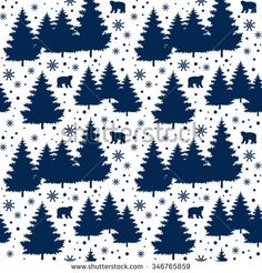 Winter Holiday seamless pattern with christmas trees, bears, snowflakes. Vector falling snow background for christmas card. #merrychristmas #xmas #winter #pine #snowfall #wallpaper #print #card #cute #Tumblr #shutterstock