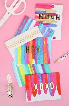 This DIY art project idea is really easy, so much fun, and makes beautifully colored notecards. You just need a few simple supplies you may already have!