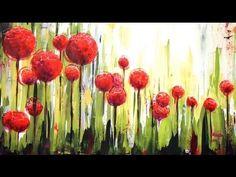 """Como pintar con acrílicos - Cuadro """"Flores en el jardin"""""""