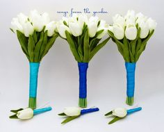 Wedding Flower Package White Real Touch Tulips Bridesmaids Bouquets Groomsmen Boutonnieres Turquoise Royal Malibu Ribbon