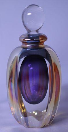 BLOWN ART GLASS PURPLE & GOLD PERFUME BOTTLE SIGNED ROGER GANDELMAN DATED 1998