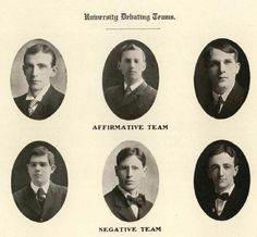 1907-08 UO Debate Team.  From the 1909 Beaver (UO Yearbook).  www.CampusAttic.com