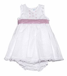 1e22a3d66 Luli & Me Baby Girls Sleeveless White Organdy / Pink Dot Embroidered Dress  with Sash and
