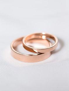 14k Rose Gold His & Hers Rings | Rose Gold Wedding Rings | Matching Wedding Band Set [The London Wedding Band Set]