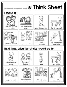 This visual think sheet is a simple way for students to reflect on their choices and think of better choices for the future. Includes 3 different forms, 1 with pictures options of the negative behaviors and pictures for better choices, 1 option with pictures for the negative behaviors and students can think of a draw a better choice, and a last option where students draw their behavior and a better choice.