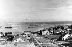 1926 San Pedro Harbor. San Pedro California, Long Beach California, California History, Southern California, Santa Catalina Island, Harbor City, Old Port, Japanese American, Aerial View
