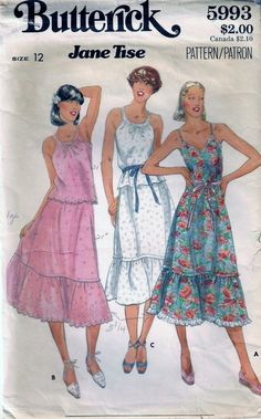 Vintage 70s Jane Tise Butterick 5993 Dress Top And Skirt Sewing Pattern Size 12 B34 Fitted Bodice Summer Dress by vintagepatternstore on Etsy