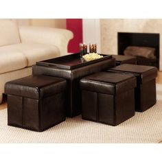 Convenience Concepts Designs4Comfort™ Manhattan Storage Bench with 4 Collapsible Ottomans - Espresso | from hayneedle.com
