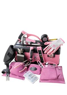 PINK tools for the lady DIYer. All the tools you need to tackle the task at hand. Contact me to fill your toolbox or toolbelt with pink Tomboy Tools. or maybe even get yourself a new pink toolbox or toolbelt to put your new tools in! Pink Love, Pretty In Pink, Pink Tool Box, Tools For Women, Tool Belt, Everything Pink, My Favorite Color, Car Accessories, Rose