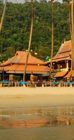 beach front view at Koh Chang Paradise Resort & Spa, on Klong Prao Beach north, Thailand