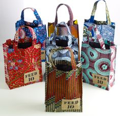 Ideas for crafts being made in Burkina Faso. add something on the bags to… Lauren Bush, Godiva Chocolatier, Ankara Bags, African Crafts, Lady Godiva, African Accessories, Feed Bags, Fabric Bags, Fashion Bags
