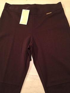 Michael Kors Luxurious Black Truffle Brown Skinny Ankle Leggings Size 4 NWT $130 #MichaelKors #Leggings