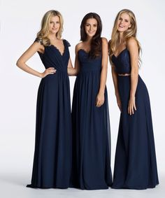 Style 5602 Hayley Paige Occasions bridesmaids dress - (Left) Indigo chiffon strapless A-line bridesmaid gown, sweetheart neckline with lace detail and draped waistband, natural waist with gathered skirt. Navy Lace Bridesmaid Dress, Bridesmaid Dresses 2017, Bohemian Bridesmaid, Navy Bridesmaid Dresses, Best Prom Dresses, Formal Dresses, Bride Dresses, Wedding Bridesmaids, Special Occasion Dresses