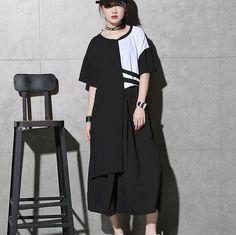 >> Click to Buy << [GUTU] 2017 Summer Spring New Fashion Black White Patchwork Round Collar Half Sleeve Irregular Hem T-shirt Woman F43700 #Affiliate
