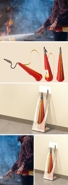 The Strap Extinguisher is a convenient and intuitive twist on the fire extinguisher that can be used with only one hand. When pulling the strap over the body and on the shoulder, the safety pin connecting the strap and nozzle is instantly pulled out so it's ready to use immediately. Carried over the shoulder, the user can keep one hand free to guide others or help navigate their way to safety.