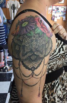 Flowers, lace and jewels, by Graham Fisher, Hot Rod Tattoo, Blacksburg, VA. #flowertattoo #lacetattoo #tattoosforwomen