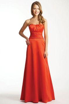 A-Line Orange Satin Sweetheart Floor-Length Bridesmaid Dress